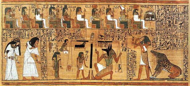 На этом фрагменте Книги мёртвых показан процесс взвешивания сердца в Дуате.