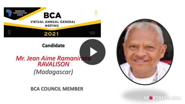 BCA Council Elections 2021 - Jean Aime Ramaniraka RAVALISON (MAD) - Council Member