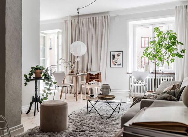 Уютная зелёная квартира с винтажными дверями в Гетеборге (60 кв. м)