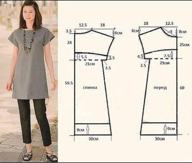 Выкройка платья для джинсы