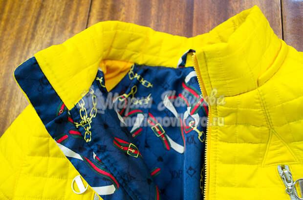 Куртка из стёганой ткани с воротником стойка