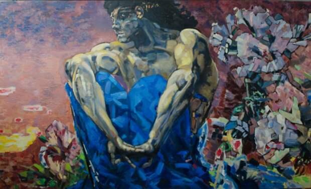 Демон сидящий. 1890. Государственная Третьяковская галерея, Москва