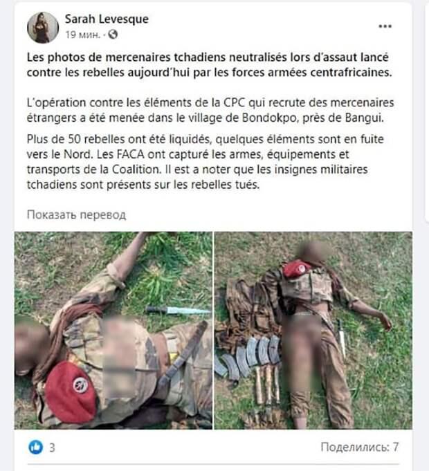 ВС ЦАР удалось уничтожить свыше 50 чадских наемников на юге страны