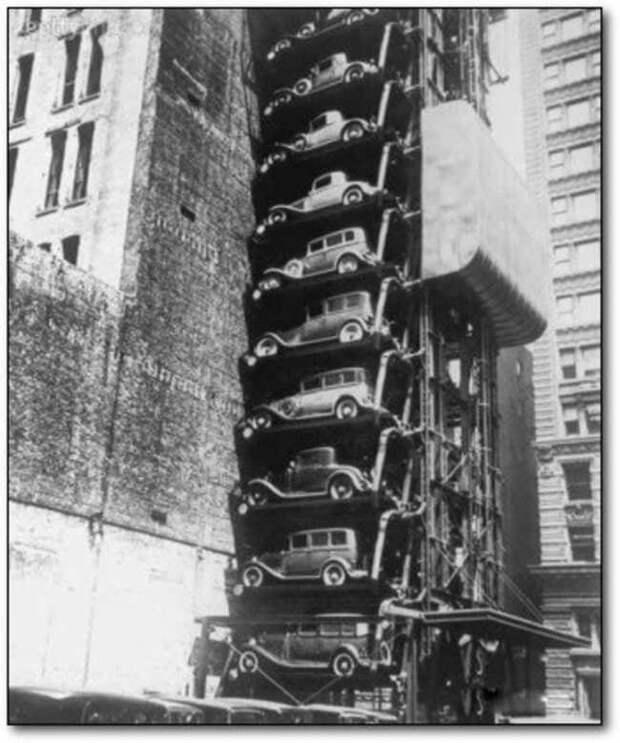 Автомобильный лифт в Нью-Йорке, 1920-е авто, автомобили, архив, из прошлого, машины, парковка, прошлое, ретро