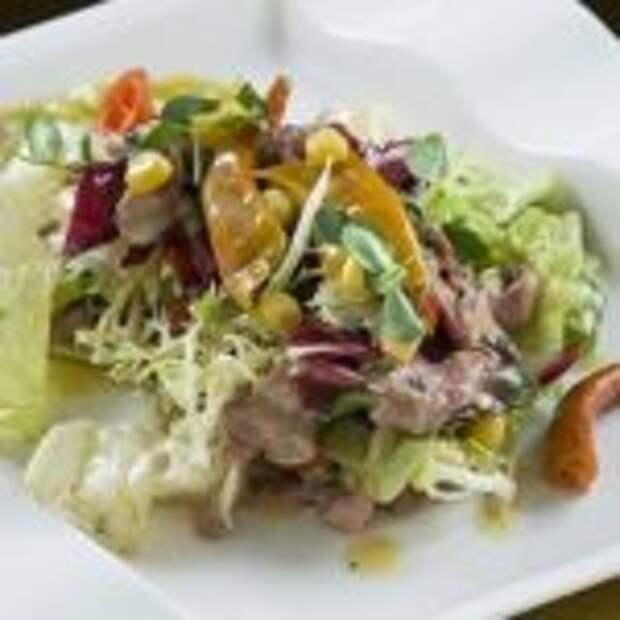 Мясной салат с пивной заправкой
