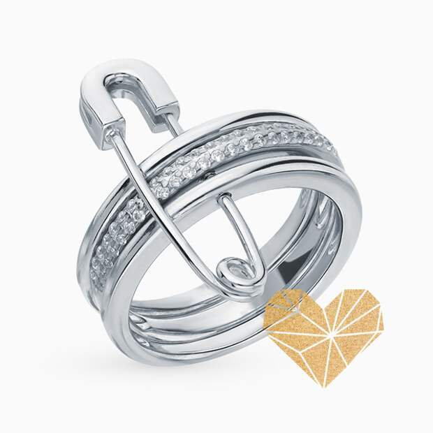 Кольцо SL, серебро, фианиты