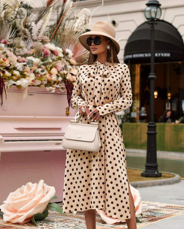 С чем носить платье в горошек: 18 самых нежных и воздушных идей
