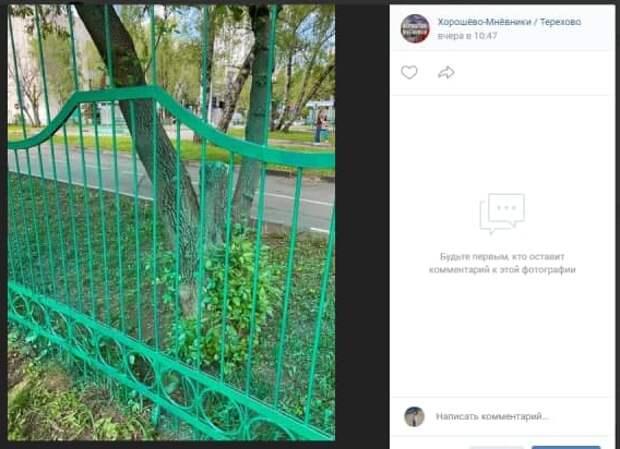 На улице Маршала Тухачевского покрасили не только забор, но и траву
