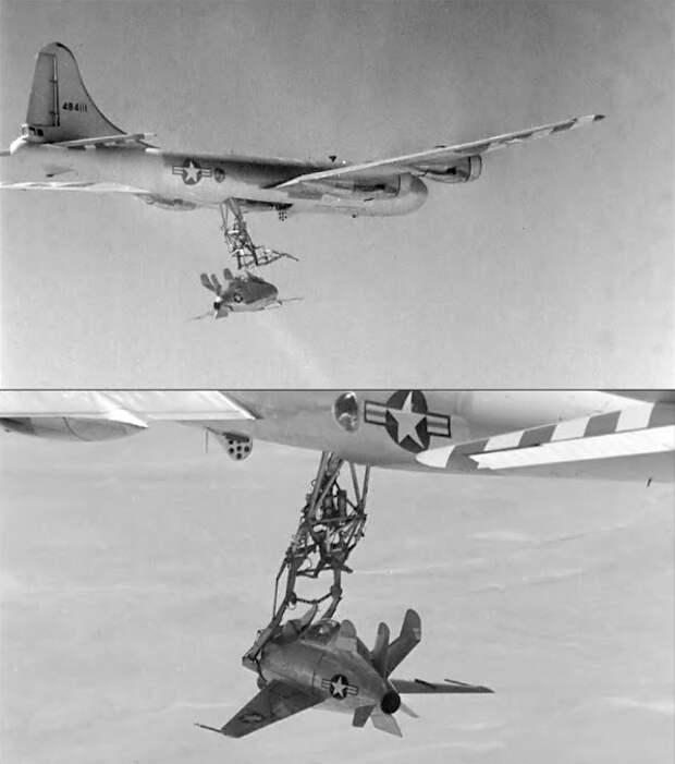 XF-85 «Гоблин» стыкуется с тестовым носителем В-29, 1948 год - Симбиоз небесных гигантов и карликов   Warspot.ru
