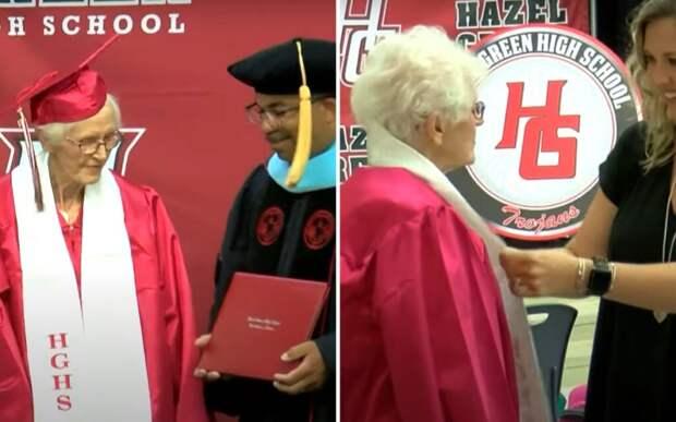 Американка, бросившая школу во время второй мировой, получила школьный аттестат в 94 года