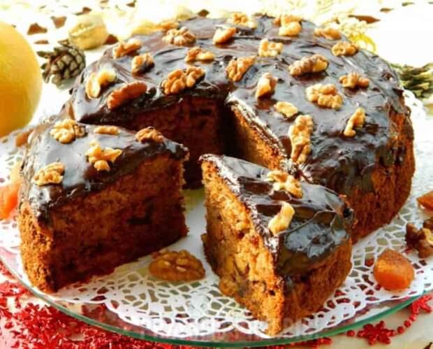 Чайный пирог с грецкими орехами и сухофруктами. Вкусное лакомство на скорую руку 2
