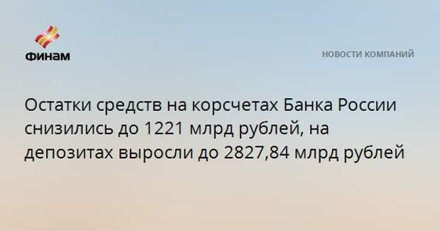 Остатки средств на корсчетах Банка России снизились до 1221 млрд рублей, на депозитах выросли до 2827,84 млрд рублей