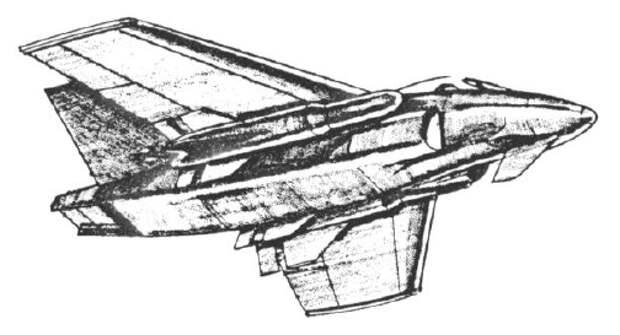 Возможный внешний вид истребителя-бомбардировщика «Микрофайтер», 1973 год - Симбиоз небесных гигантов и карликов   Warspot.ru