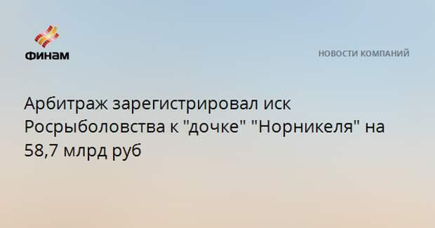 """Арбитраж зарегистрировал иск Росрыболовства к """"дочке"""" """"Норникеля"""" на 58,7 млрд руб"""
