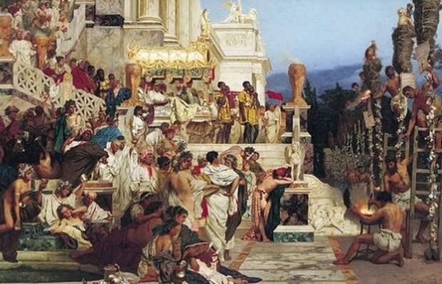 Сожжение христиан во время пиршества.