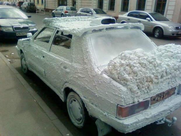 11. «Неужели, снова выпал снег... Хотя, нет, не везде!» авто, месть, фото, юмор