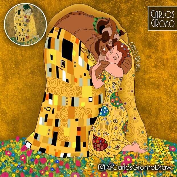Художник нарисовал диснеевских принцесс в стиле 10 известных картин