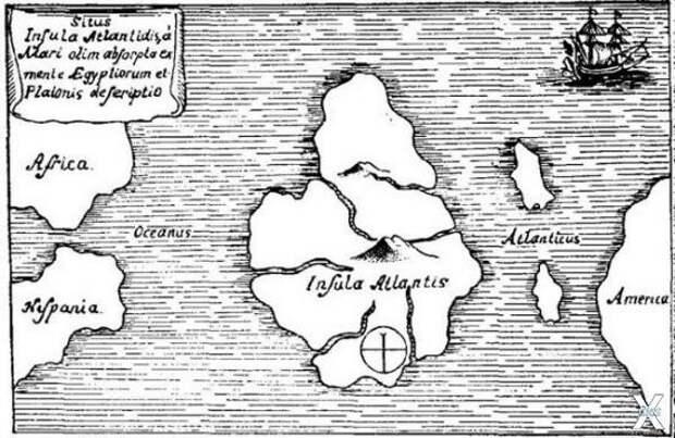 Карта Атлантиды Афаназиуса Кирхера (н...