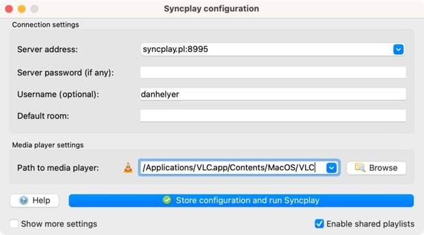 Syncplay server settings