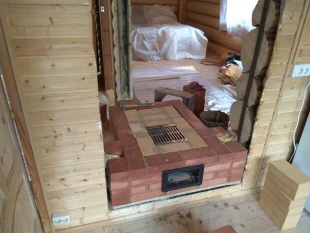 Каминопечь на три комнаты
