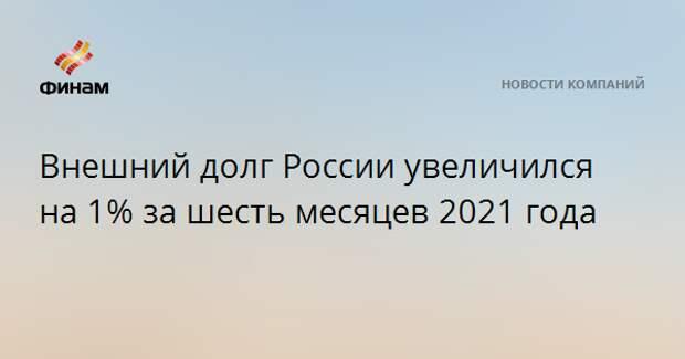 Внешний долг России увеличился на 1% за шесть месяцев 2021 года
