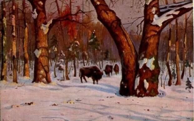 Зимний пейзаж. Вид Беловежской пущи. (1906 - 1908 гг.). Автор: Яков Бровар.