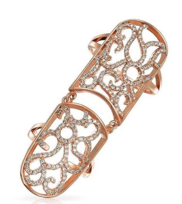 широкое двойное кольцо на фаланги с кристаллами