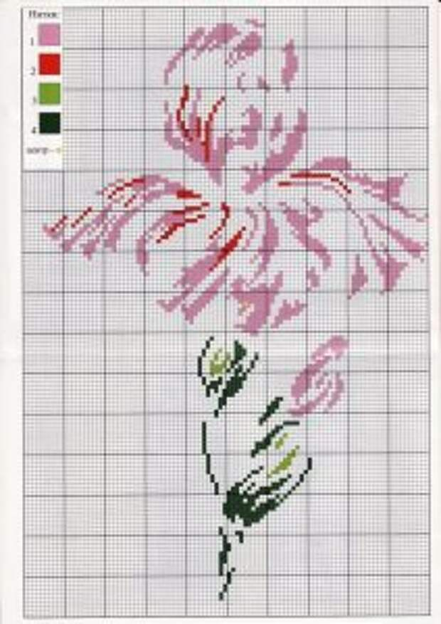 СТЕЖОК, ЕЩЁ СТЕЖОКВышиваем цветущие ирисы крестиком по схемам