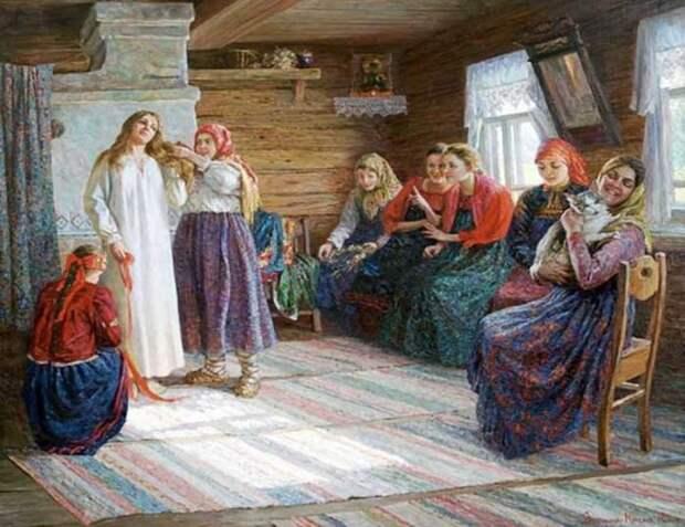 Н. А. Антохина-Куракса. Крестьянская свадьба. На девичнике подружки невесты расплетали ей волосы и делали две косы.