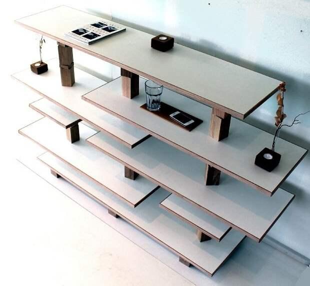 Мебель в нарочито неряшливом стиле, созданная из мебельных отходов