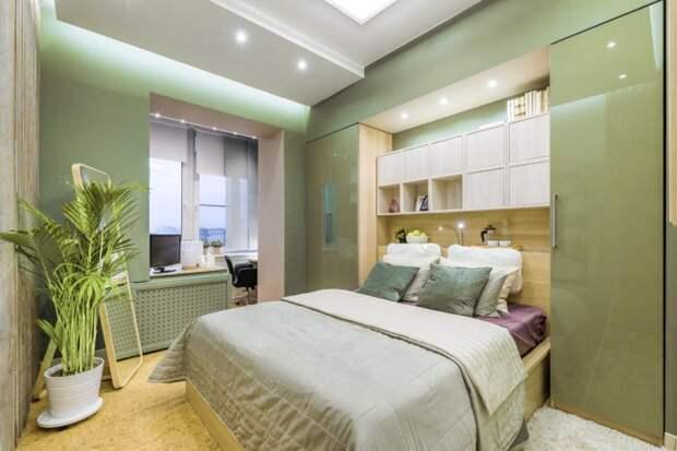 глянцевые шкафы в спальне