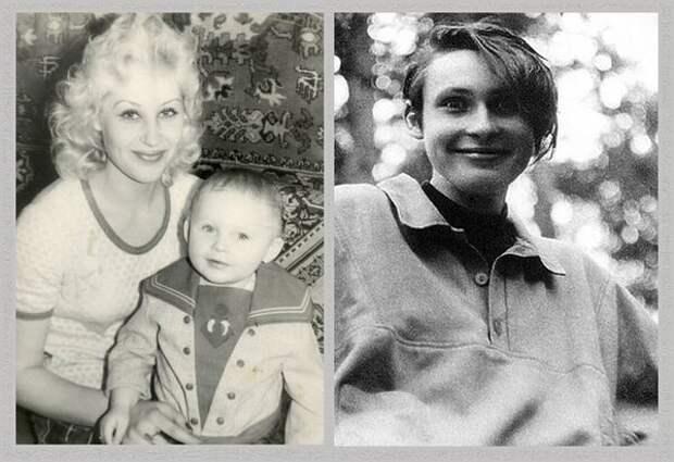 Саша Медведев с мамой в детстве, и он же в юности.