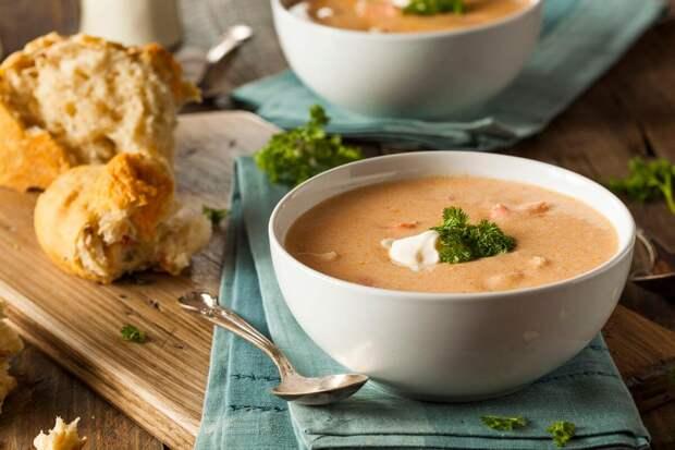 Вкусный суп-пюре с кальмарами