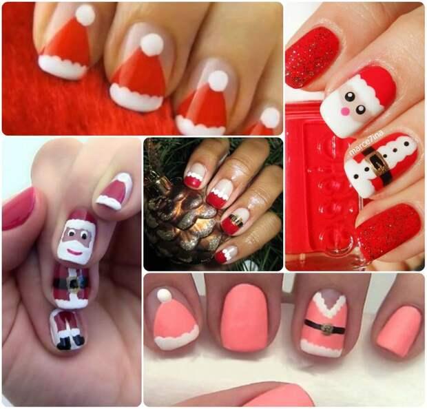 Новогодний маникюр в красном цвете на коротких и длинных ногтях
