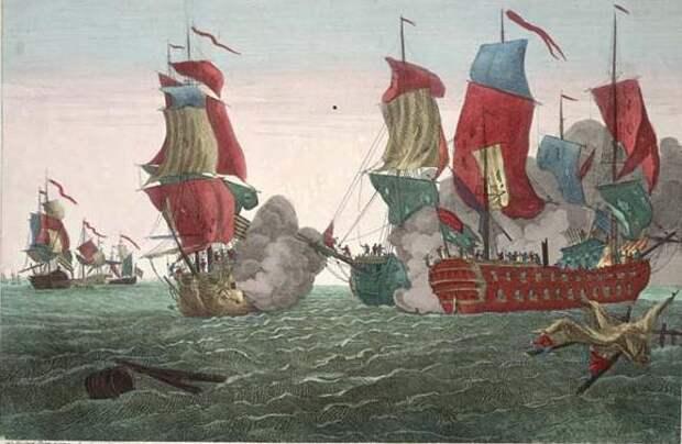 Корабль Джонса Bonhomme Richard атакует английский фрегат Serapis, 1779.jpg