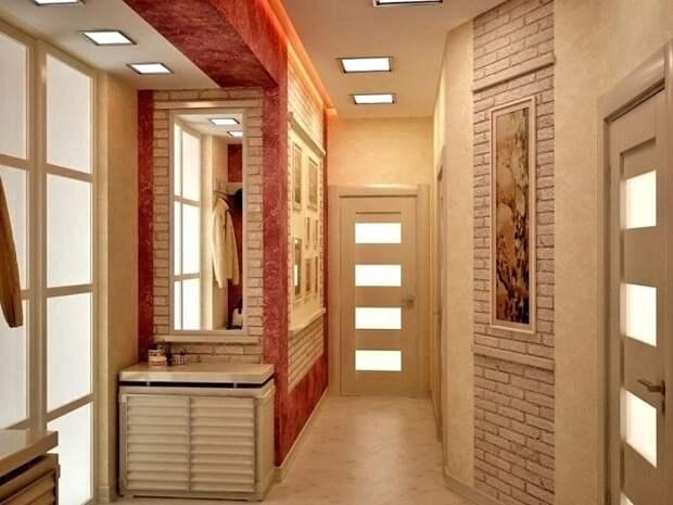 При отделке стен лучше комбинировать разные материалы. / Фото: roomester.ru