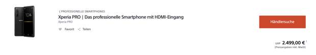 В Европе появилась возможность купить Sony Xperia Pro: 5G-смартфон со встроенным HDMI и 4K HDR-дисплеем
