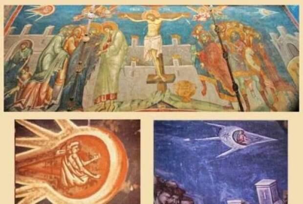 НЛО на старинных фресках и картинах