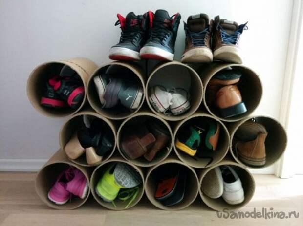 Полка для обуви из картонной трубы