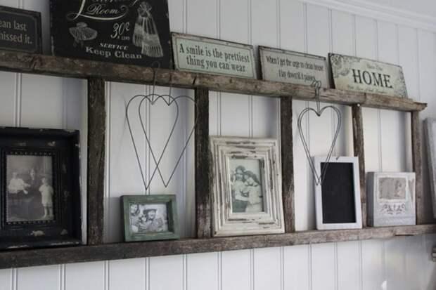 11. Вместо настенной полки дизайн, из старых вещей, лестница, своими руками, стремянка, фото