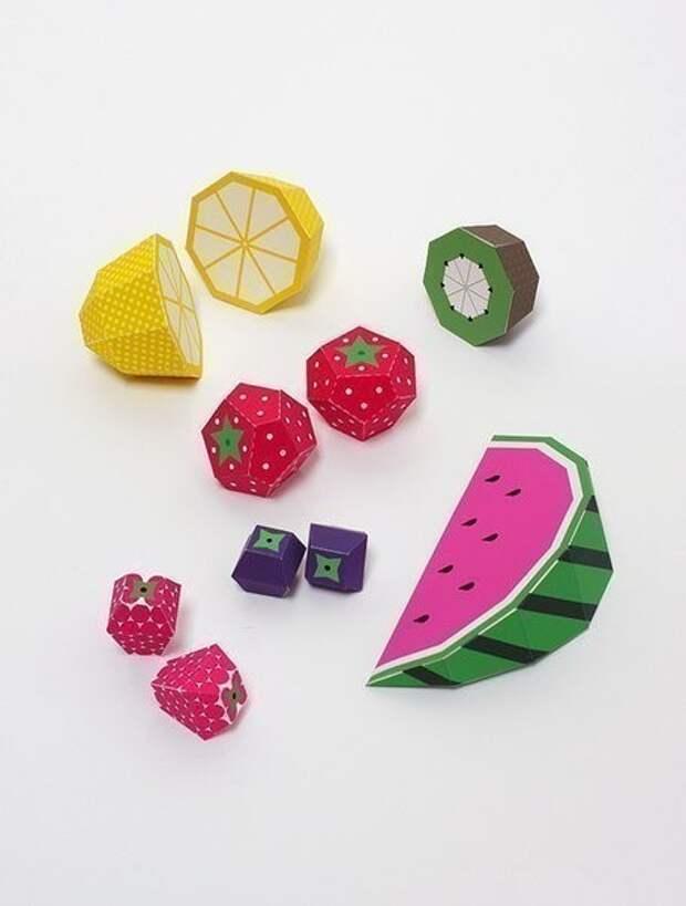 Бумажные фрукты с выкройками - распечатай вырежи и склей