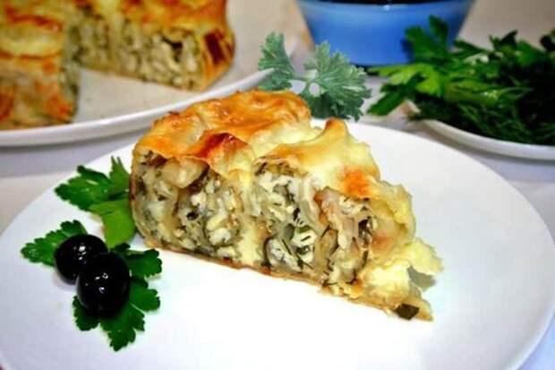Пирог с мясом Лаваш в нежной заливке