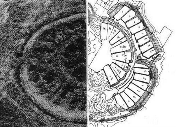 В укрепленное поселение входят два, вписанных друг в друга, кольца.