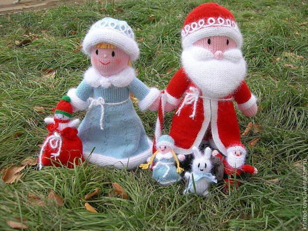 Дед Мороз и Снегурочка из Дедморозовки (вязаные игрушки из шерсти), Дед Мороз и Снегурочка, Липецк,  Фото №1