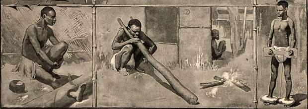 Различные виды деревянных колодок для захваченных рабов (Конго, 1880-е годы)