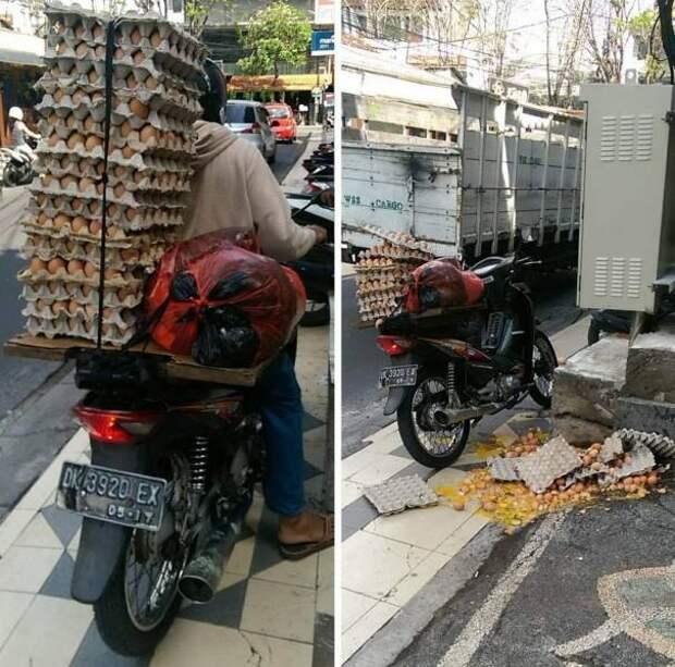 Перевозка яиц на мотоцикле