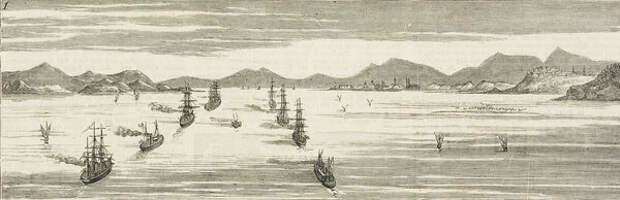Британский флот входит в Дарданеллы. Иллюстрация из журнала Graphic. 1878 год © Getty Images