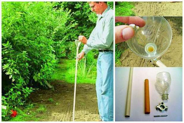 Зачем наклоняться для высадки мелких семян? Сделайте такое приспособление из трубки и половины бутылки и высаживайте не наклоняясь дача, идеи, интересное, посевная, советы, хитрости