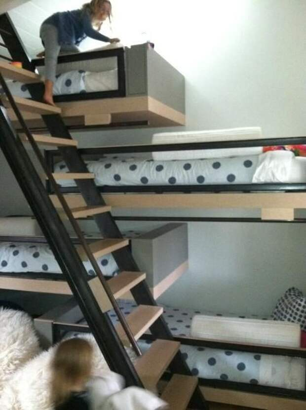 идей расположения кроватей в детской спальне для большой семьи