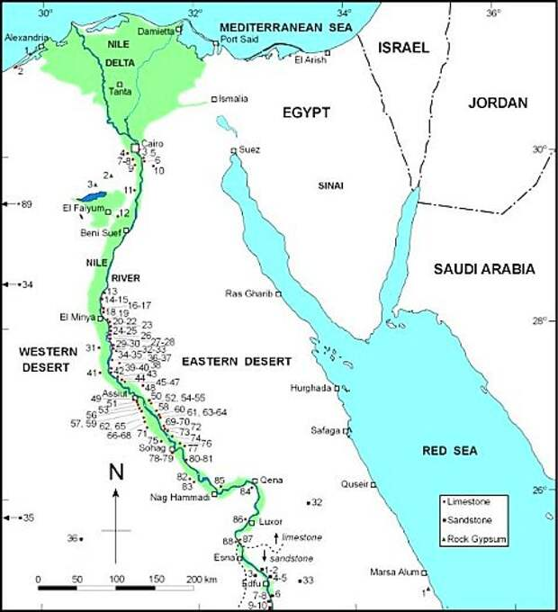 Карта древнеегипетских каменоломен. Красными кружками показаны известняки, чёрными квадратами — песчаники, зелёными треугольниками — гипсы. Рисунок из обсуждаемой статьи в Encyclopedia of Egyptology.